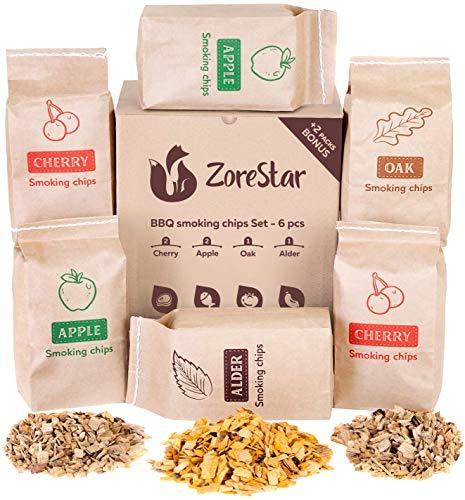 Zorestar Wood Chips for Smokers - 6 pcs Variety Pack of Oak | Alder | Cherry | Apple Chips for...